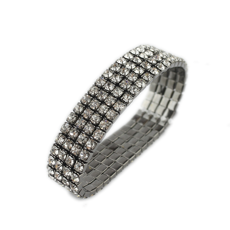 4 Colors 2017 New Fashion Black Full Shining Crystal Four Row Stretch Bangles For Women Gift Cuff Bracelets Wedding Jewelry