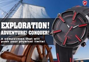 ฉลามกีฬานาฬิกายี่ห้อดิจิตอลเวลาคู่วันLEDสีดำสีแดงนาฬิกาข้อมือผู้ชายเหล็ก 4