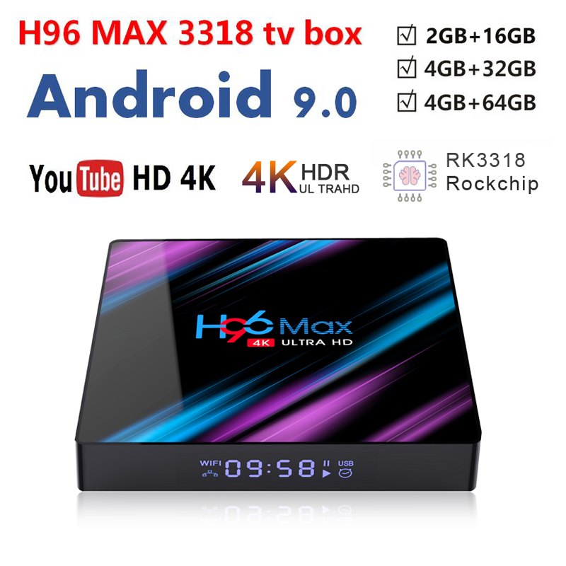 android 9 0 tv box H96 MAX Rockchip RK3318 set top box of Voice Control H96