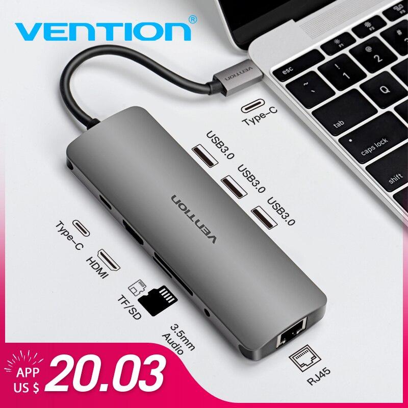 Venção USB HUB C Tipo C Para HDMI USB 3.0 raio 3 RJ45 Adaptador para MacBook Samsung S8/S9 huawei P20 Pro usb-c adaptador Dock
