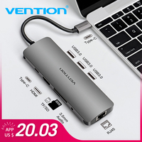 Vention USB C HUB Type C To HDMI USB 3.0 thunderbolt 3 RJ45 Adapter for MacBook Samsung S8/S9 Huawei P20 Pro usb c Dock adapter