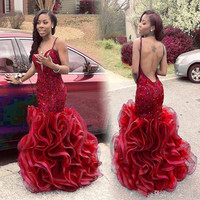 Ombre Dress New Arrival Sexy Backless Colors Prom Dress Customized V Neck Ruffled Mermaid 2016 Prom