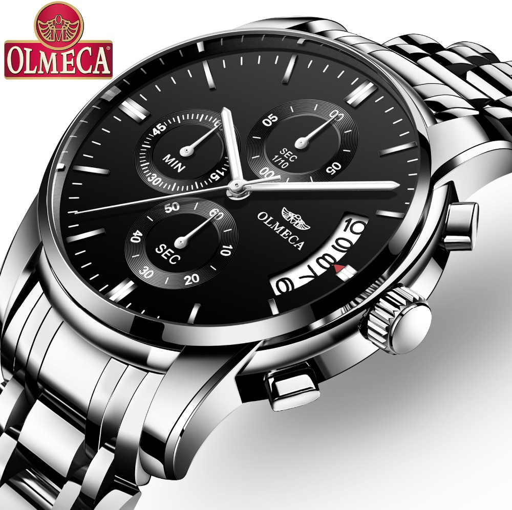 OLMECA Classic Watch Military Relogio Masculino Waterproof Watches Fashion Chronograph Wrist Watch Stainless Steel Clock Black new yadan xfcs fashion black womens watches waterproof ladies quartz watch simple female wrist watch relogio masculino clock