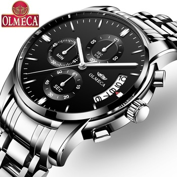 OLMECA Classic Watch Military Relogio Masculino Waterproof Watches Fashion Chronograph Wrist Watch Stainless Steel Clock Black