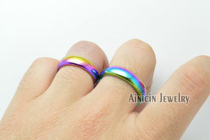 Image 5 - 50pcs Rainbow Color Plated Hematite #6~#10 Ring For Man and Women Fashion Party Jewelry