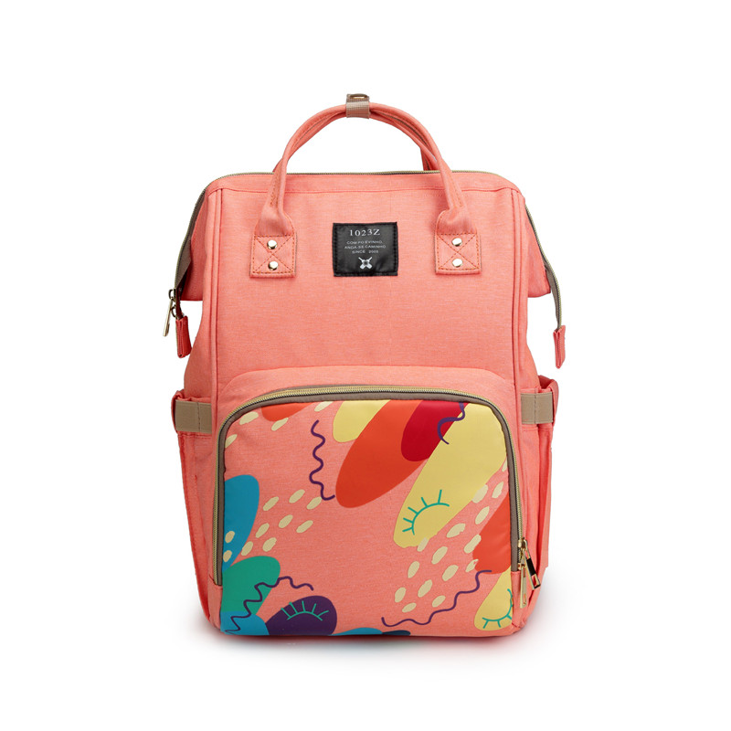 Inside Patch Pocket Landscape Pattern Insulation Mother Diaper Backpack Graffiti Printing Retractable Handle Tablet Bag