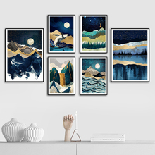 Moon Sun Mountain Whale Octopus American Style Poster And Prints Wall Art Canvas Painting Pictures For Living Room Decor