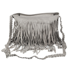 Wholesale5*Fringed Tassel Suede Boho Messenger Shoulder Hand bags Purses – Grey