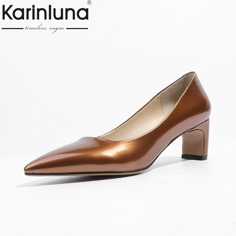 KARINLUNA Spring And Autumn Pumps Shallow Slip-On pointed toe square Heel comfortable shoes Women Shoes large size 33-40 red spring autumn women s low heel pumps flock plain pointed toe shallow slip on ladies casual single shoes zapatos mujer black