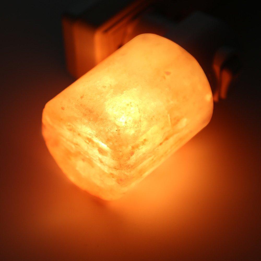 Mini lámpara de cristal Natural tallado a mano lámpara de sal del Himalaya luz de noche (en forma de cilindro) bombilla de pared colgante de lámpara compras Nueva luz nocturna con Sensor de movimiento inteligente LED lámpara de noche a pilas WC lámpara de noche para habitación pasillo inodoro DA
