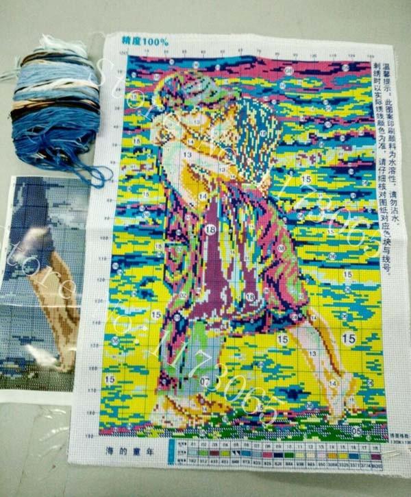 Robótki, DIY DMC Cross stitch, Zestawy do zestawy do haftu, - Sztuka, rękodzieło i szycie - Zdjęcie 2