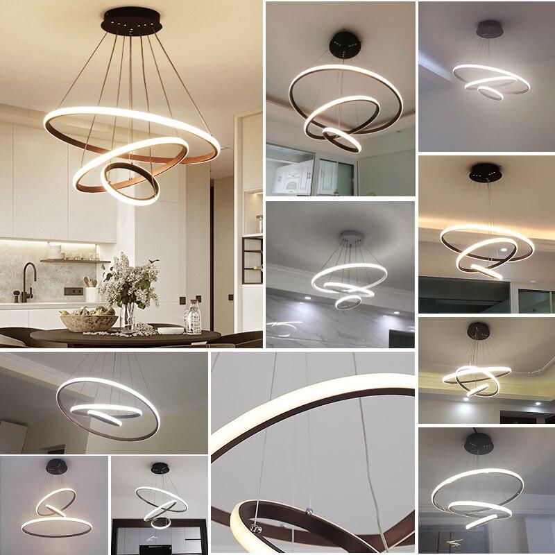 Modern LED chandelier for dinning room living room White Black Coffee Color lampadario moderno Lustre Chandelier