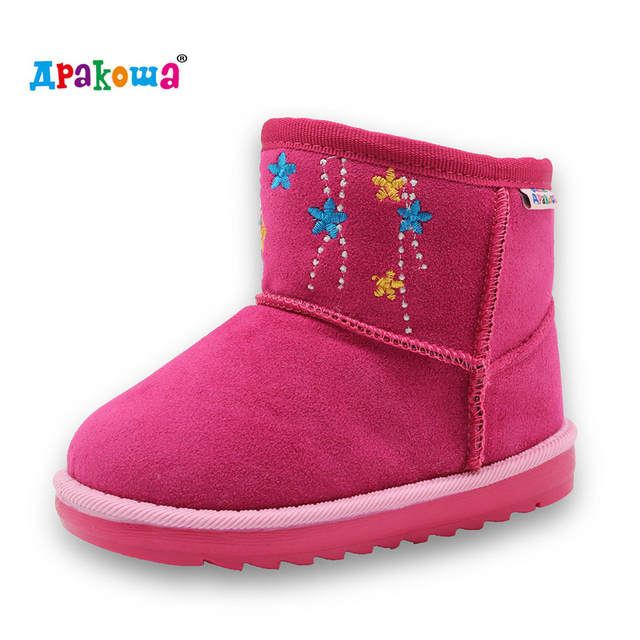 ad29d52e38 Apakowa kids winter Classic Child Leather Snow Boots For Girls Boys Warm Martin  Boots Shoes Casual Plush Child Baby Toddler Shoe