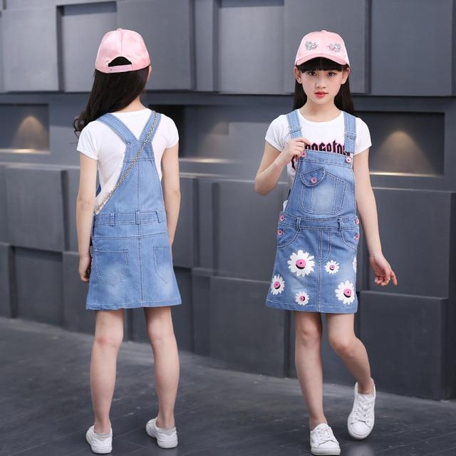 the best attitude 003a0 972c1 US $17.35 |Abbigliamento per ragazze Set 2 PZ (Tuta + Maglietta) Bambino Si  Adatta Alle Sportive Bambini Denim Strapped Floreali Tuta Ragazze Denim ...