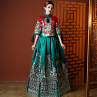 Chinese Lady Toast Clothing Asian Bride Wedding Dress Elegant Embroidery Qipao Sexy Satin Cheongsam Stage Show Clothes S XL