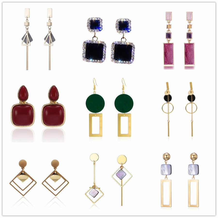 2019 Korean Style Asymmetrical Earrings Geometric Drop Earrings Rhinestone Circle Acrylic Shell Earrings Temperament Earrings