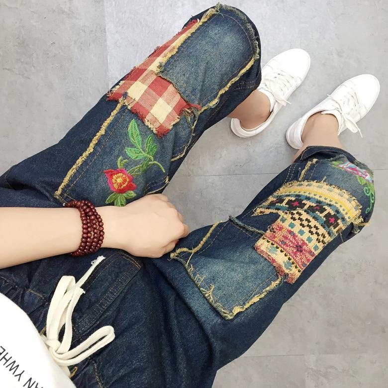 Casual Vintage Ethnic Retro Boho Style Embroidered Patchwork Jeans Blue Denim Loose Summer Calf Length Pants Pantolon Trousers