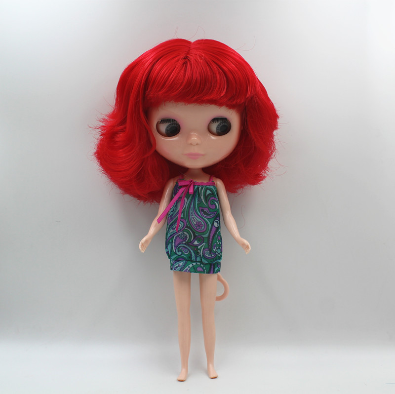 Special offer,Blyth doll,Wine red liu hai short hair, nude doll,7 joints body, general body, fashion doll,DIY doll. ...