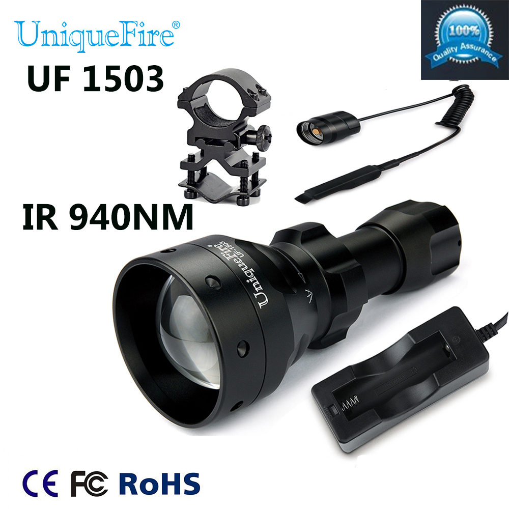Uniquefire LED Torch 1503-940NM IR LED Adjustable Zoomable Flashlight+Tactical Remote+Charger+Scoep Mount For Outdoor Hunting uniquefire night vision t67 flashlight uf 1405 ir 850nm led flashlight kit lamp torch remote pressure scope mount charger