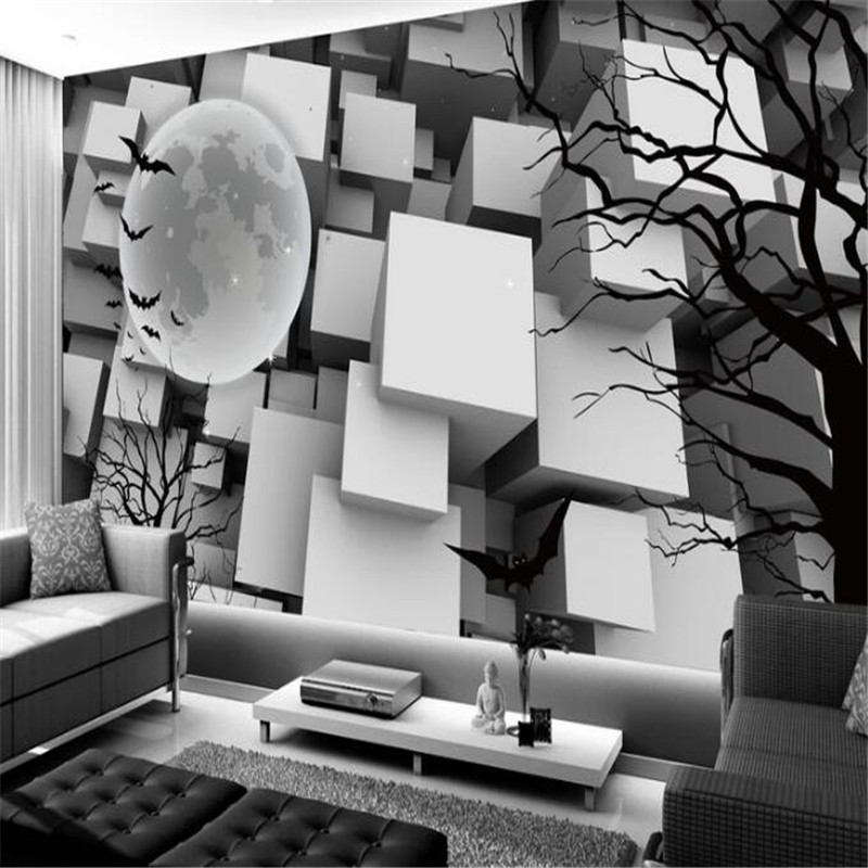 Personality Mural 3D White Black Cube Wallpaper For Walls Tree Branches Silhouette Wall Covering Living Room Home Decor Theme In Wallpapers From