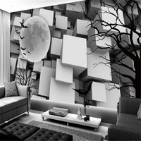 Personality Mural 3D White Black Cube Wallpaper for Walls 3D Tree Branches Silhouette Wall Covering Living Room Home Decor Theme