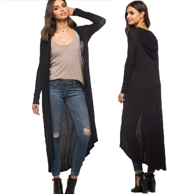 Hooded Extra Long Cardigan Women Long Sleeve Cardigan Sweater ...