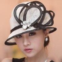 New Arrival Women Hats For Church Winter Dress Sinamay Hat Women Chapeau Sun Shading Fashion Summer
