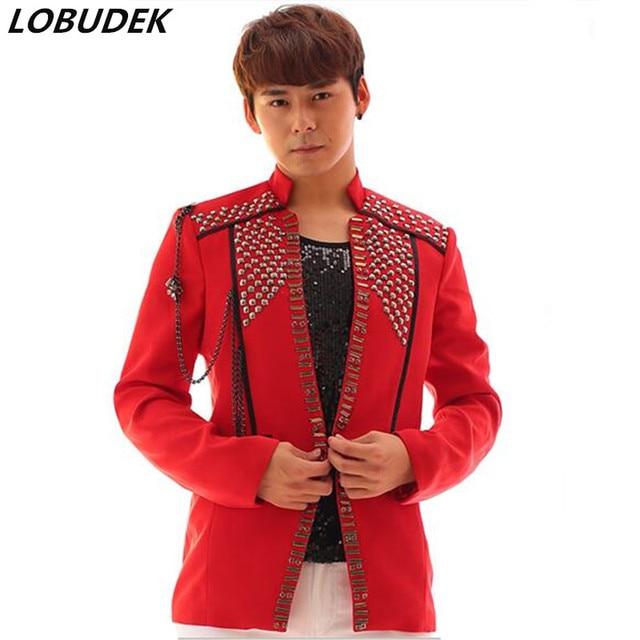 Mâle nouveauté rouge blazer veste Diamant manteau costume cool garçon outfit  haute qualité chanteur danseur stade