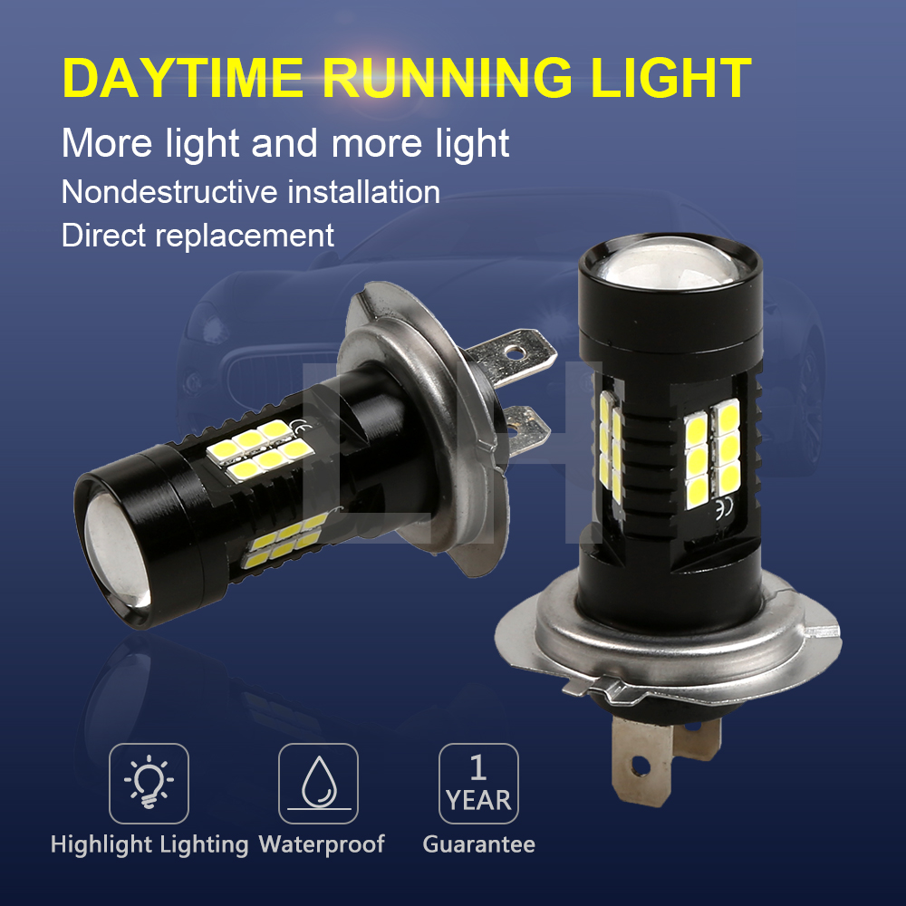 2Pcs H7 LED Lamp Super Bright Car Fog Lights 12V 24V 6000K White Car Driving DRL Daytime Running Light Auto Led H7 Bulb auto super bright 3w white eagle eye daytime running fog light lamp bulbs 12v lights car light auto car styling oc 25