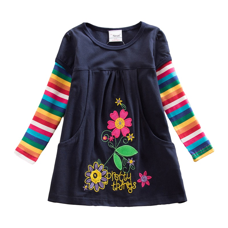 2-8Y Dresses for Girls Retail Baby Long Sleeve Clothes Tutu Party Flower Girl Dresses Neat Children Kid Dresses LH5802 H5802 Mix