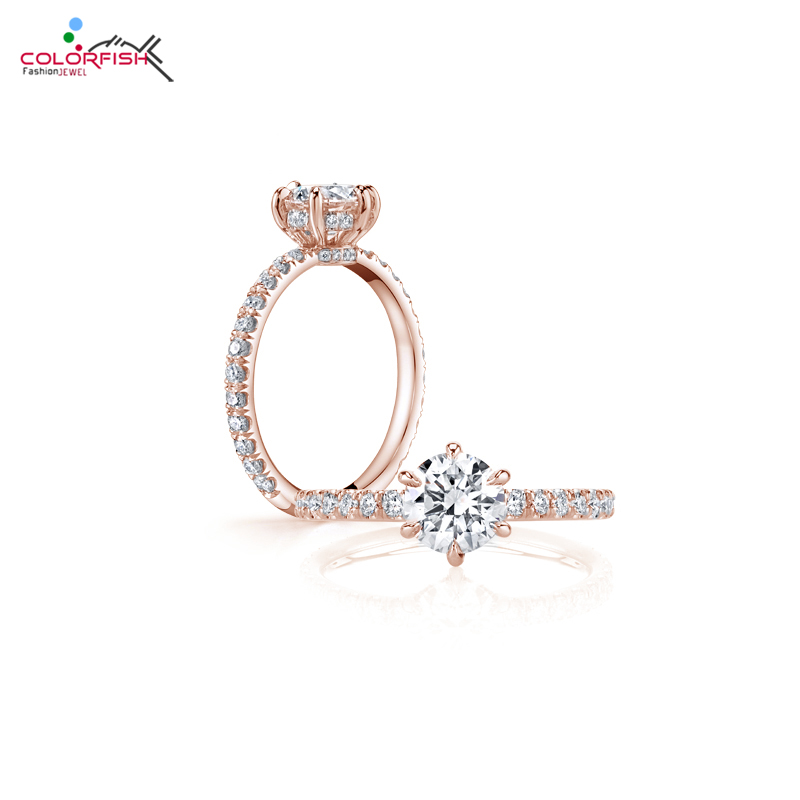 COLORFISH Classic Solitaire Engagement Ring For Women Solid 925 Silver Six Claw 1 Carat Round Cut Sona Rings Wedding Jewelry