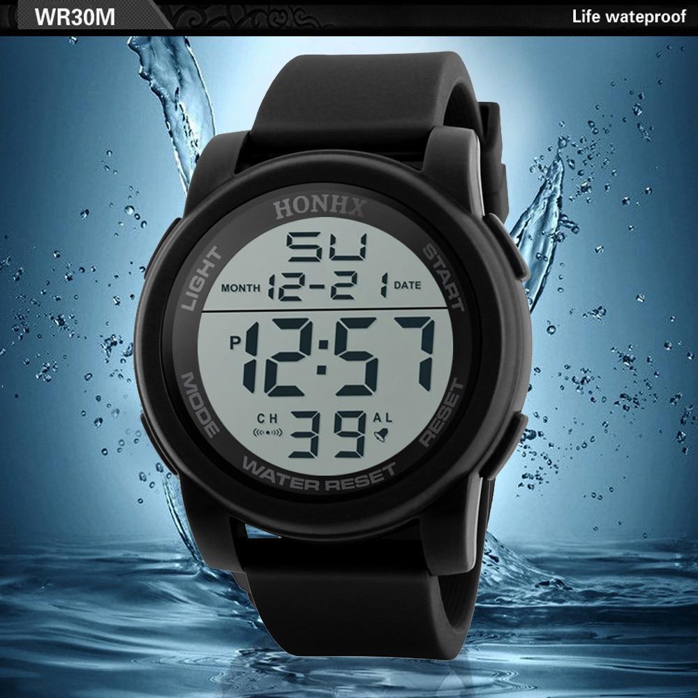 Men's Clock Sport Digital LED Waterproof Wrist Watch Luxury Men Analog Digital Military Army Stylish Mens Electronic watch Clock 2