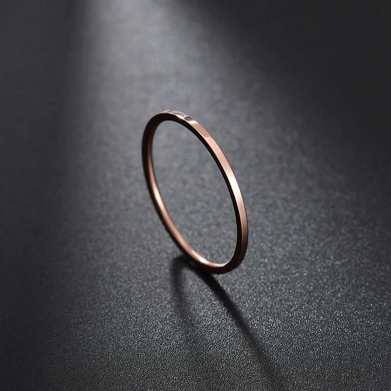ELSEMODE ارتفع الذهب 1.1 مللي متر بسيط التيتانيوم الصلب السلس الخطوبة الزفاف زوجين خواتم للنساء فتاة مجوهرات هدية