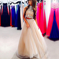 Robe de soirée de luxo frisada de cristal 2 peça de vestidos de baile 2017 longa festa homecoming dress champagne cor personalizada
