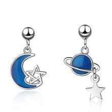 XIYANIKE-pendiente de Planeta de Plata de Ley 925 con diseño de Luna Azul, joyería elegante con diseño de Luna Azul, para mujeres