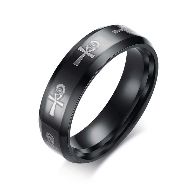 Men S Ankh Ring Egyptian Cross With Horus Eye Religious Band Stainless Steel Male Jewelry Anel Aneis