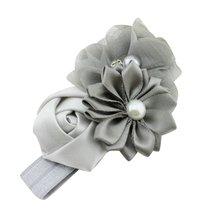 NEW Girl Headband Chiffon Headdress Faux Pearl Hairband (Grey)