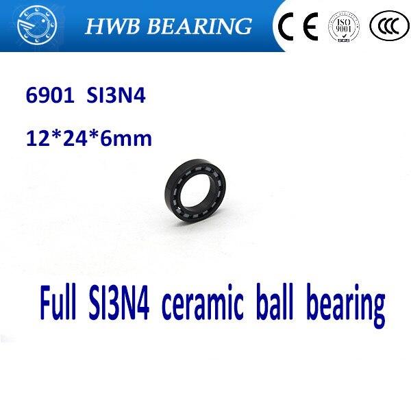 Free Shipping 6901 61901 SI3N4 Full ceramic bearing ball bearing  12*24*6 mm for bike part free shipping 6901 full si3n4 ceramic deep groove ball bearing 12x24x6mm full complement 61901