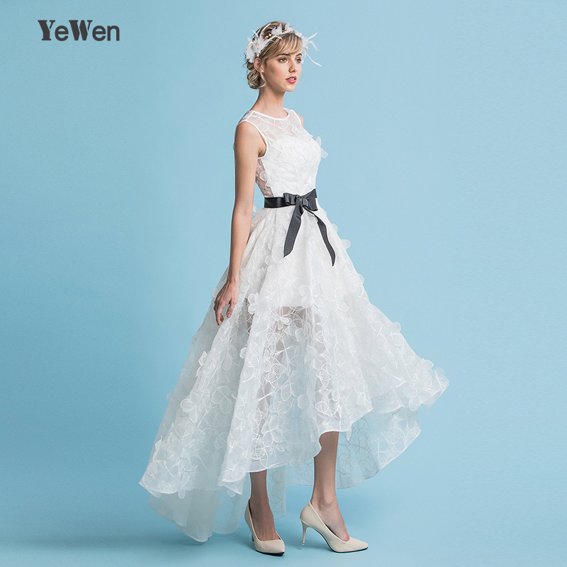 Tank Organza Lace Flowers Short Front Long Back Wedding Dress