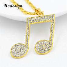 Uodesign Rhinestone Rhythm Pendants Necklace Men Hiphop Music Note Long Chain Gold Color Alloy Sweater