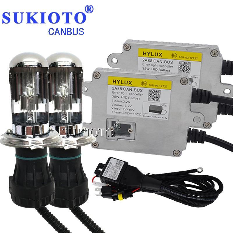 SUKIOTO Canbus xénon H4 bixenon HID Kit de phares D2H H7 H11 H8 HB3 ampoules xénon 5500 K blanc Hylux Hyluxtek 2A88 Ballast hid Kit