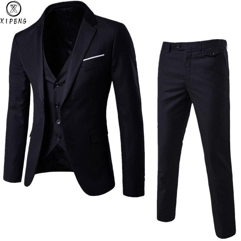 Mens 3 Pieces Blazers Pants Vest Social Wedding Suit Thin Men Fashion Solid Business Suit Set Casual Formal Costume Homme 6XL