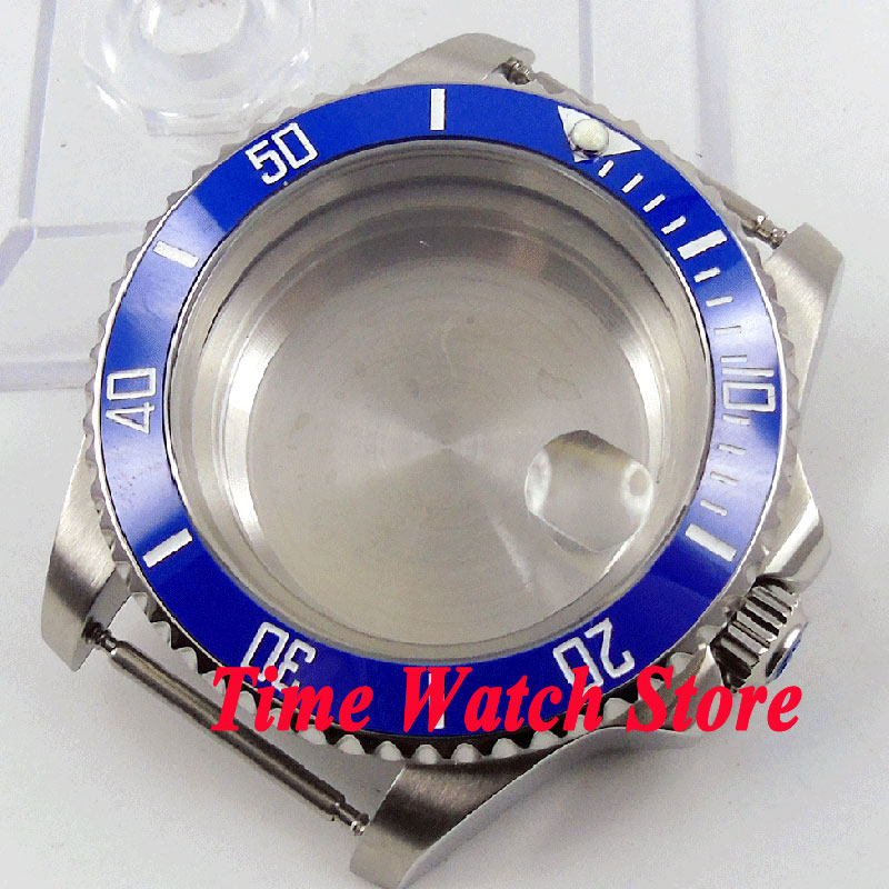 40mm Sapphire glass blue ceramic bezel stainless steel Watch Case fit ETA 2824 2836 movement C97 jamo c97