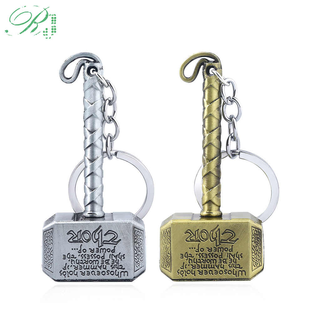 RJ Hot Thor Hammer Keychains Avengers Iron Man Keyring Loki Mjolnir Axe Thanos Sword Key chains Men Fans Jewelry Gift