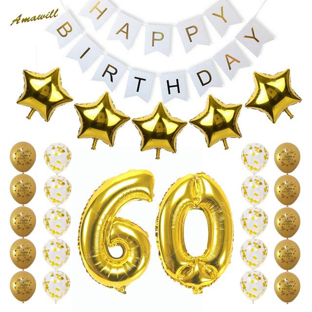 Amawill 60th Birthday Party Decoration Kit Happy Banner Golden White Balloon Creative 60 Years Old