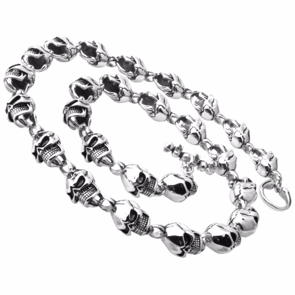 71cm Silver Color 316L Stainless Steel 15mm Necklace Punk Hip Hop Charm Skull Chain Necklace Fashion Jewelry