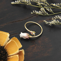 France Les Nereides Elegant Simple Flower Opening Rings For Women Party Accessories Good Gift Top Quality