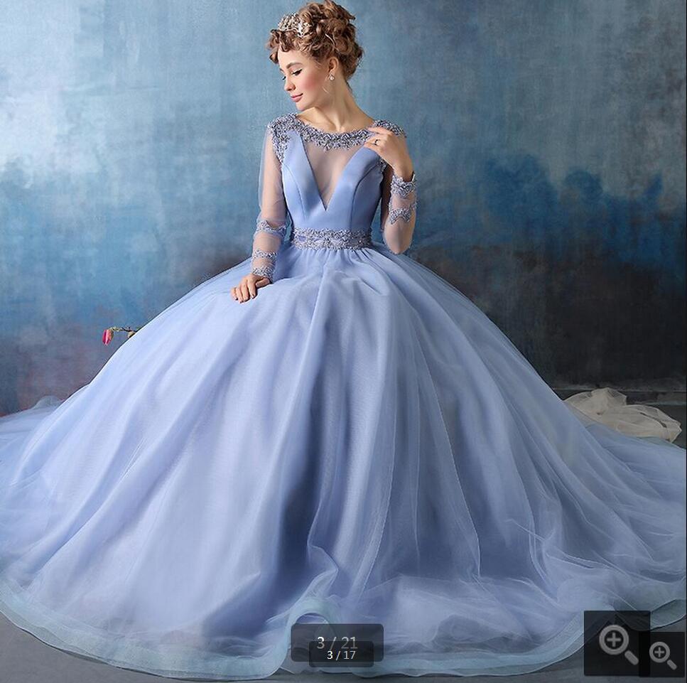 Vestido de Noiva Elegant Wedding dresses 2016 Blue Appliques Beaded ...