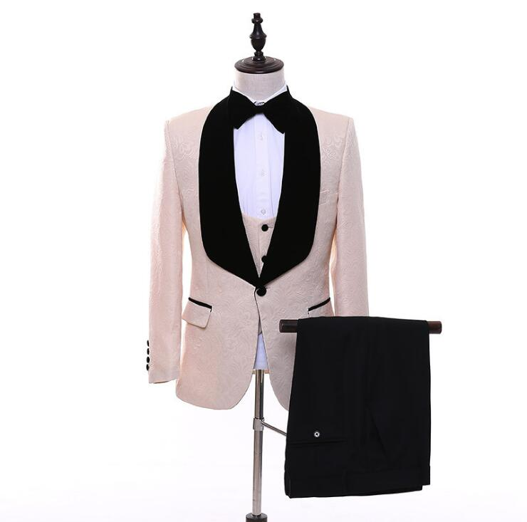 New Men/'s Premium Jacquard Slim Fit Prom Tuxedo Wedding Suit Jacket Vest Pants