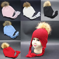 Toddler Hat 1-4Years Baby Kids Beanie Warm Winter Wool Knitted Earflap Hat with Raccoon Fur Pom Poms Baby Girls Boys Caps Hats